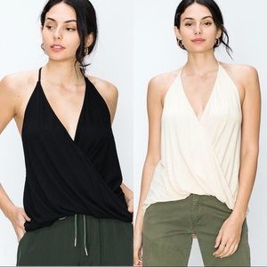 NWT $60 Deep V Surplice Halter Top Shirt